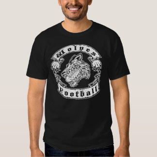 Wolves Football Tattoo Style Design T-shirt