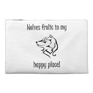 Wolves frolic in my happy place travel accessory bag