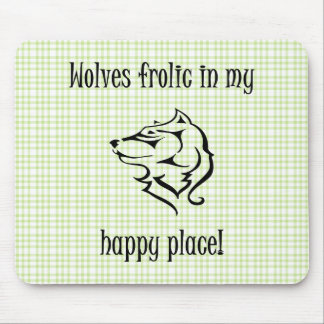 Wolves frolic in my happy place mouse pad