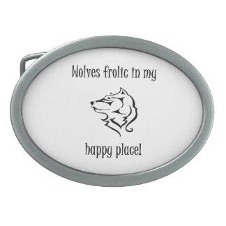 Wolves frolic in my happy place oval belt buckle