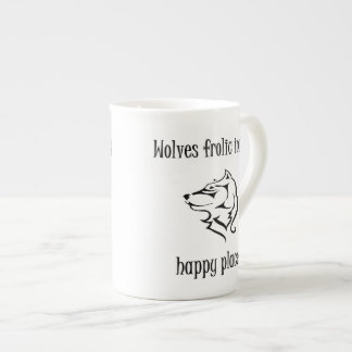 Wolves frolic in my happy place tea cup