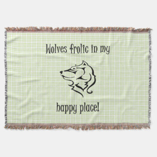 Wolves frolic in my happy place throw