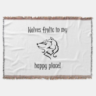 Wolves frolic in my happy place throw blanket
