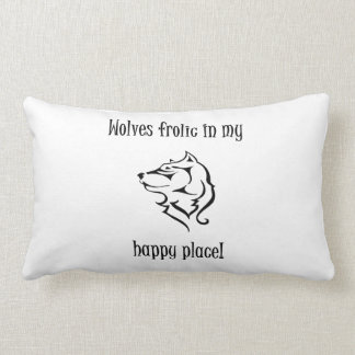 Wolves frolic in my happy place throw pillow