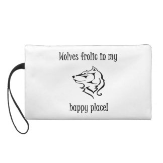 Wolves frolic in my happy place wristlet clutches