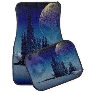 Wolves Howling At The Night Time Blue Moon Car Floor Mat