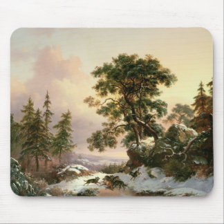 Wolves in a Winter Landscape (oil on panel) Mouse Pad