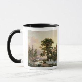 Wolves in a Winter Landscape (oil on panel) Mug