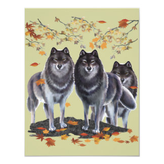 Wolves In Fall 4.25x5.5 Paper Invitation Card