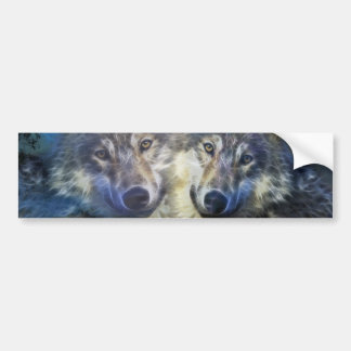 Wolves in the night car bumper sticker