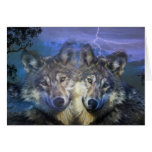 Wolves in the night greeting cards