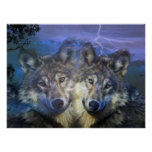 Wolves in the night print