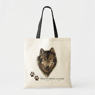 Wolves left footprints on my Heart, Wolf Quote Budget Tote Bag