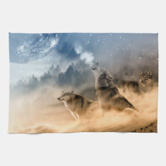 Wolves Moon Fog Nature Scenery Hand Towel