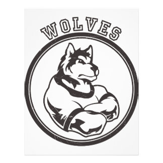 """Wolves or Wolf Mascot 8.5"""" X 11"""" Flyer"""