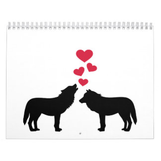Wolves red hearts love calendars