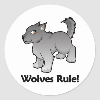 Wolves Rule! Classic Round Sticker