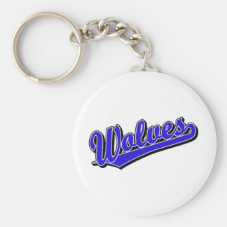Wolves script logo in blue keychains