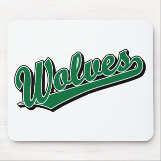 Wolves script logo in green mouse pad