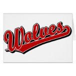 Wolves script logo in red greeting card