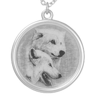 Wolves Silver Plated Necklace