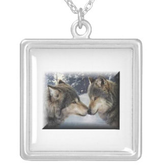 Wolves together silver plated necklace