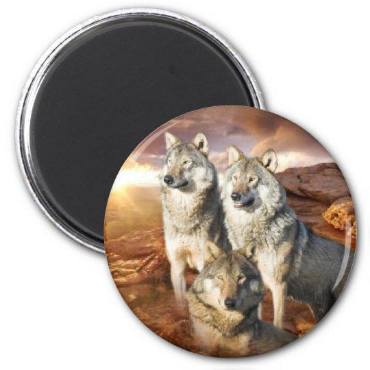 Wolves Trio 2 Inch Round Magnet