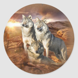 Wolves Trio Classic Round Sticker