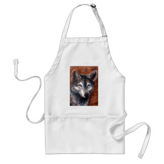 Wolves Wolf Portrait Charcoal Drawing Sketch Adult Apron