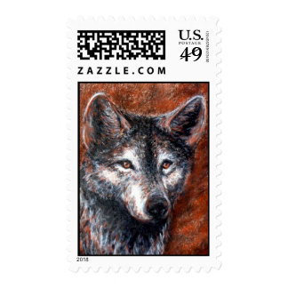 Wolves Wolf Portrait Charcoal Drawing Sketch Postage Stamp