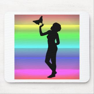 Woman2 NeonRainbow Mouse Pad