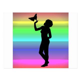 Woman2 NeonRainbow Postcard