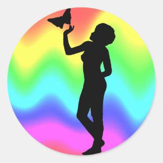 Woman2 RainbowMelt Etiqueta Redonda