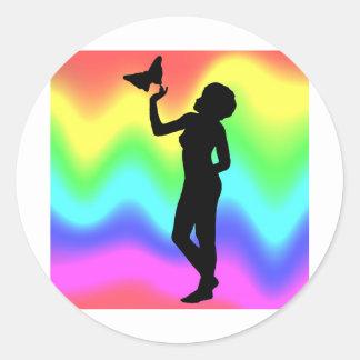Woman2 RainbowMelt Pegatina Redonda