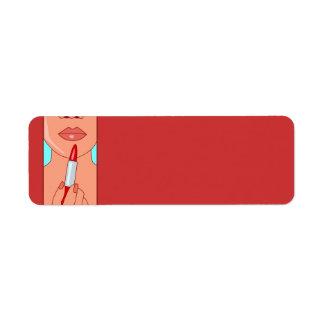 woman716 WOMAN RED LIPSTICK FASHION STYLE SALON BE Label