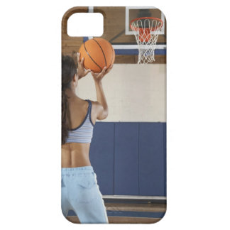 Woman aiming at hoop with basketball, rear view iPhone SE/5/5s case