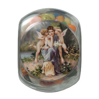 Woman and angels glass jars