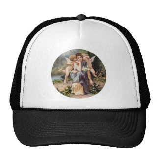 Woman and angels trucker hat