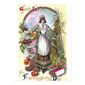 Woman and Autumn Bounty Vintage Thanksgiving Postcard