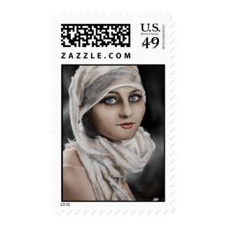 Woman and Bandages painting stamp