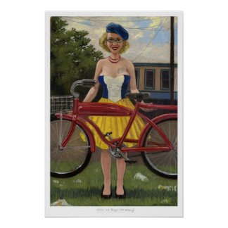 Woman and Bicycle (After De Kooning) Poster