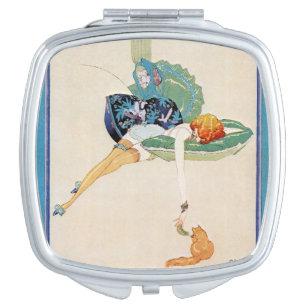 Woman and Cat, Chéri Hérouard Compact Mirror