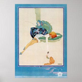 Woman and Cat, Chéri Hérouard Poster