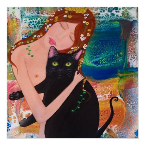 Woman and Cat Klimt Style poster - vintage black cat wall decor
