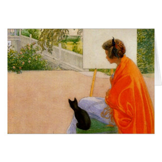 Woman and Cat Looking at Bridge Card