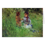 Woman and child in garden in Bougival by Morisot Greeting Cards