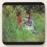 Woman and child in garden in Bougival by Morisot Coasters