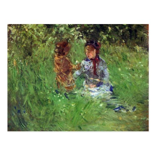 Woman and child in garden in Bougival by Morisot Post Card