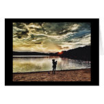 Woman and Child Silhouette at Sunset Card