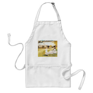 Woman and child sitting in a field by Morisot Adult Apron